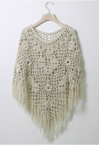 Delicate Hand-knit Fringe Cape in Off-White - Retro, Indie and Unique Fashion