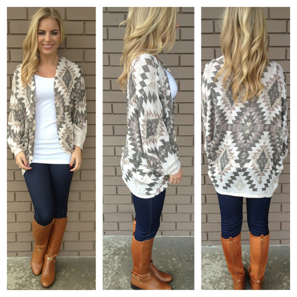 Mocha Aztec Light Knit Cardigan                           | Dainty Hooligan Boutique