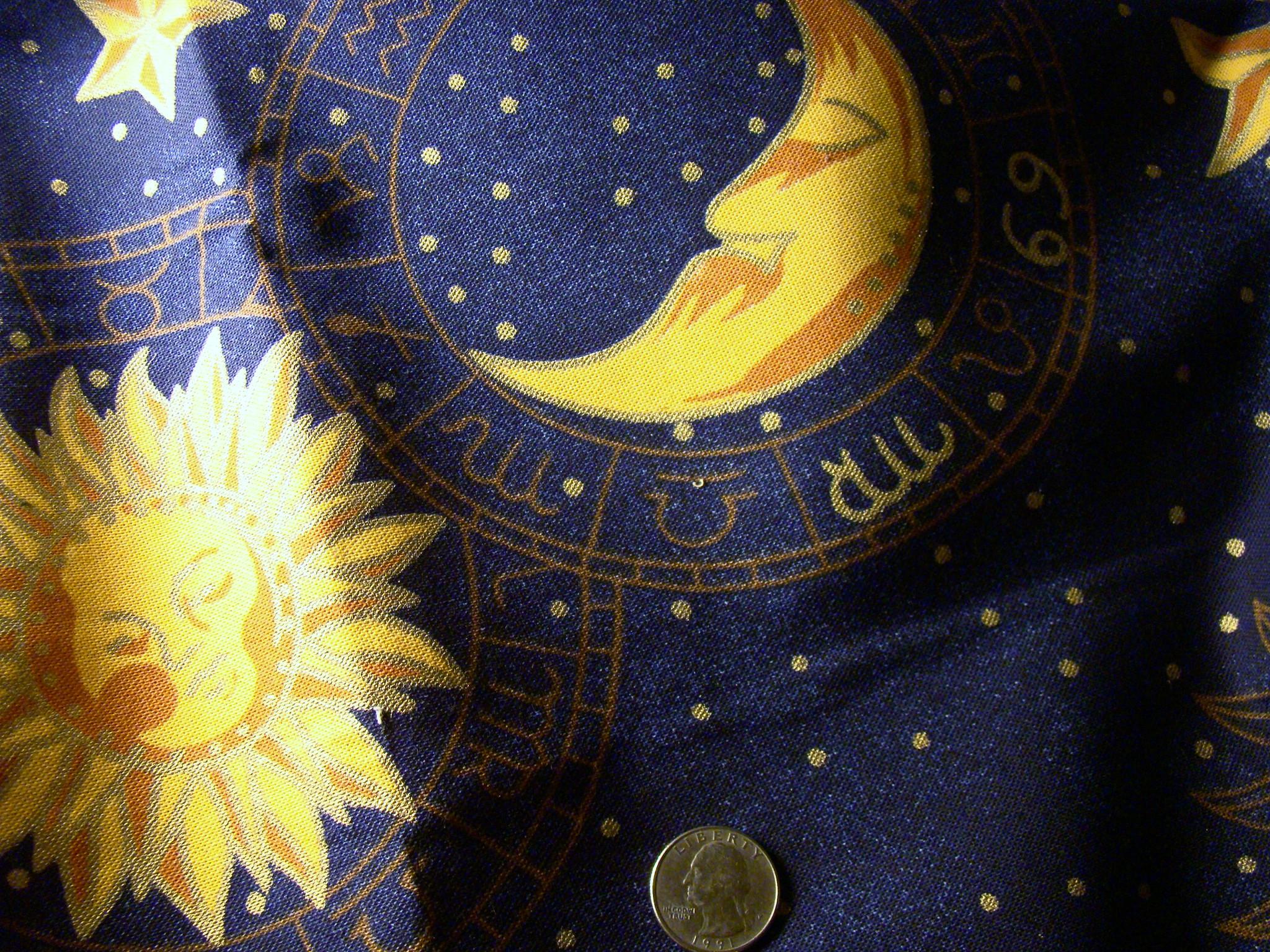 Sun Moon Stars Horoscope Drapery Prints Fabric # K-669