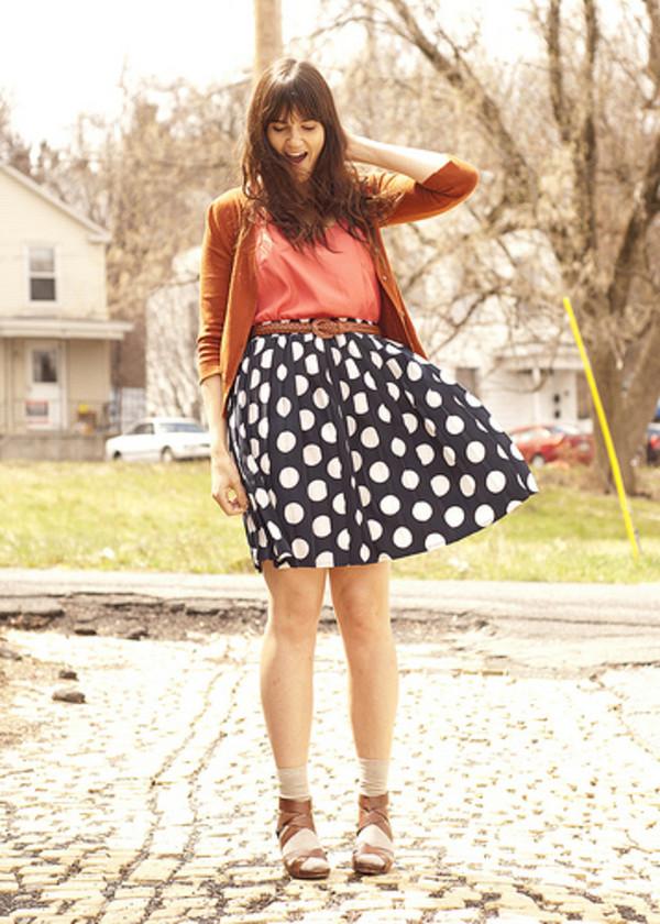 blue skirt polka coral sandals skirt belt blouse shoes jacket big pattern
