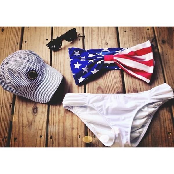 swimwear american flag summer swimwear bikini bandeau bikini swimwear white bow