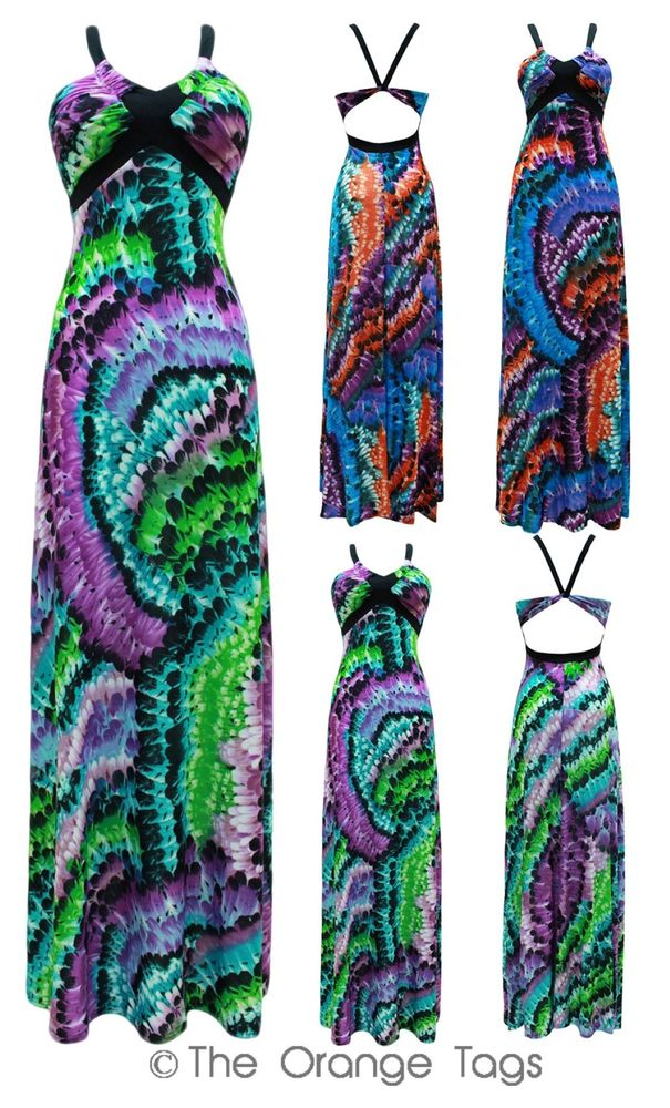 LADIES FEATHER PRINTED LONG SUMMER MAXI LADIES BACKLESS STRAPPY EVENING DRESS | eBay
