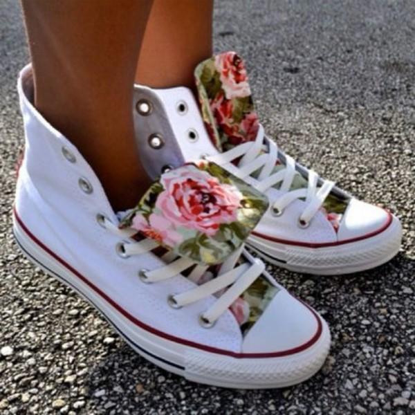 shoes sneakers platform sneakers high top sneakers converse converse white sneakers white sneakers flowers vintage flowers summer summer outfits summer shoes cute