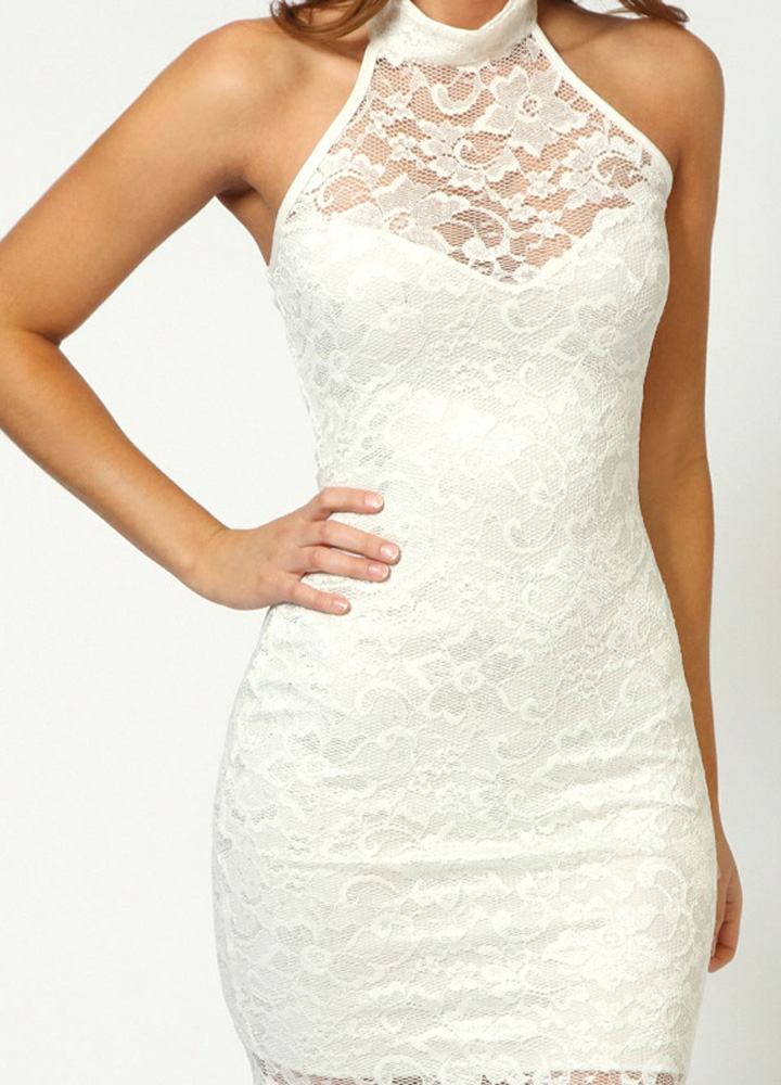 White Sweetheart Halter neck Open Back Lace Dress