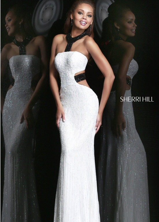 2014 Sherri Hill 8541 White/Black Sexy Sequin Dress [Sherri Hill 8541] - $180.50 : Shop Cheap Prom/Homecoming Dress 2014 on Darlingprom