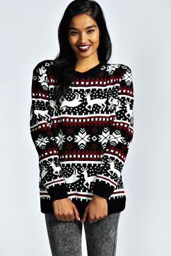 Alexia Reindeer Knit Jumper at boohoo.com