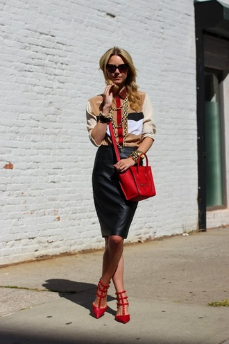 atlantic pacific t-shirt skirt bag shoes jewels sunglasses valentino rockstud valentines day valentino red bag celine bag celine shirt beige shirt black leather skirt leather skirt black skirt red sandals sandal heels mid heel sandals spring outfits blouse