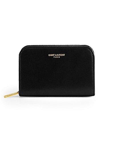 Saint Laurent - Saint Laurent Marquage Zip-Around Leather Coin Purse - Saks.com