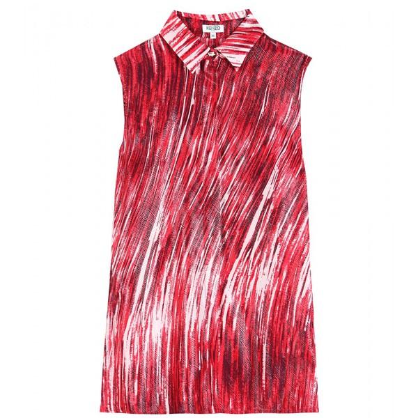 shirt kenzo high waves printed silk-blend shirt