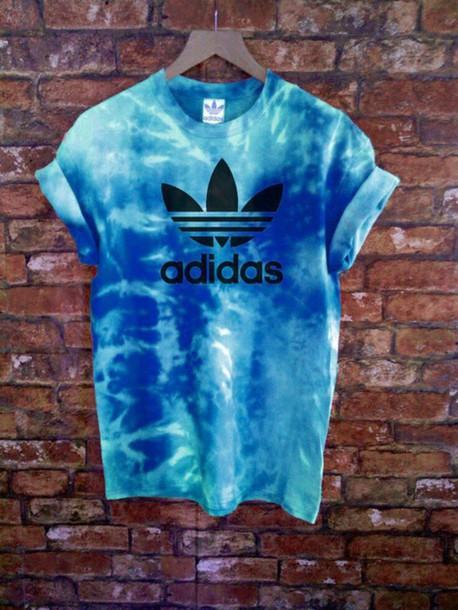 t-shirt tie dye adidas shirt tie dye blue