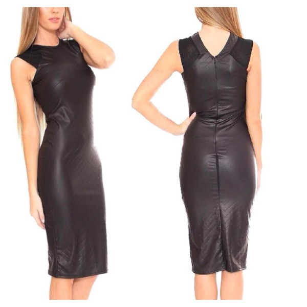 dress pu leather black dress