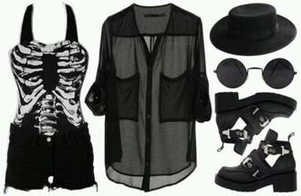 top t-shirt black skull kits