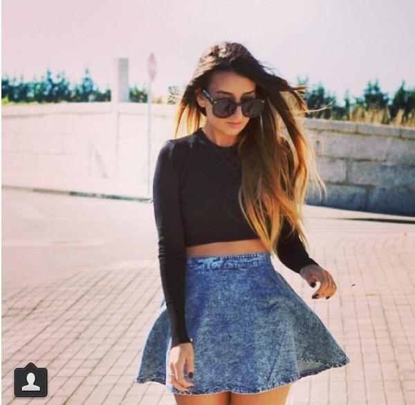 skirt jeans vintage old school high waisted blue skirt blue skirt shirt sunglasses