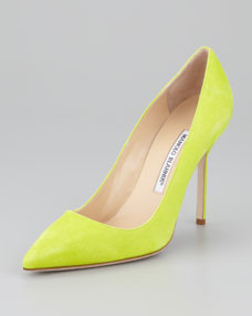 Manolo Blahnik BB Suede Pointed-Toe Pump, Lime Green - Neiman Marcus