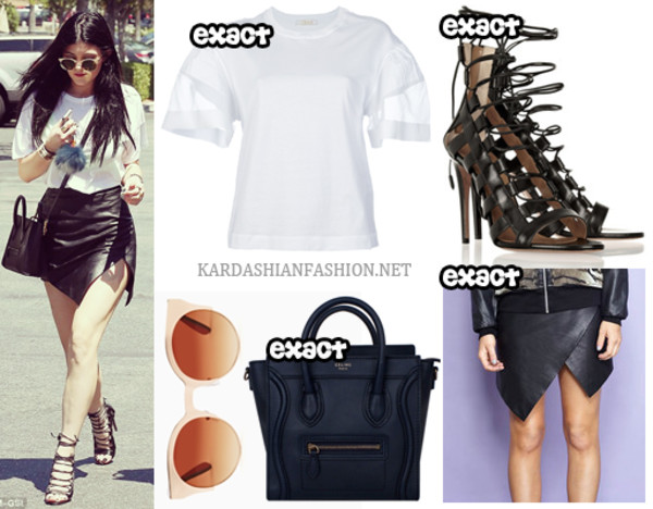 skirt kylie jenner leather top shoes shirt