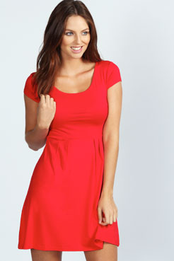 Claudia Jersey Cap Sleeve Skater Dress at boohoo.com