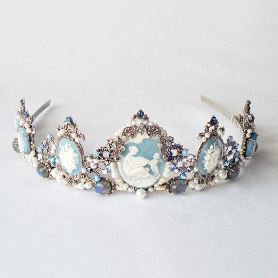 SALE  Drusilla Blue tiara  Gothic headpiece by AncaPeelma on Etsy