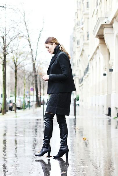 moderosa blogger thigh high boots charcoal winter dress blazer dress jacket jewels