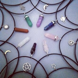 jewels quartz moon stars flourite necklace cristal cool girl style indie hipster soft grunge hippie spring vintage pierres pr?cieuses pendentif collier
