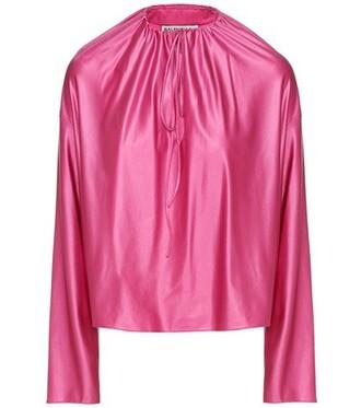 blouse satin pink top