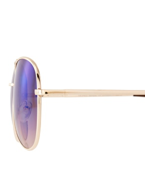 ASOS | ASOS Aviator Sunglasses With Blue Mirrored Lens at ASOS