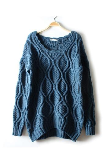 Retro Lattice Wave High Low Sweater [FKBJ10312]- US$37.99 - PersunMall.com