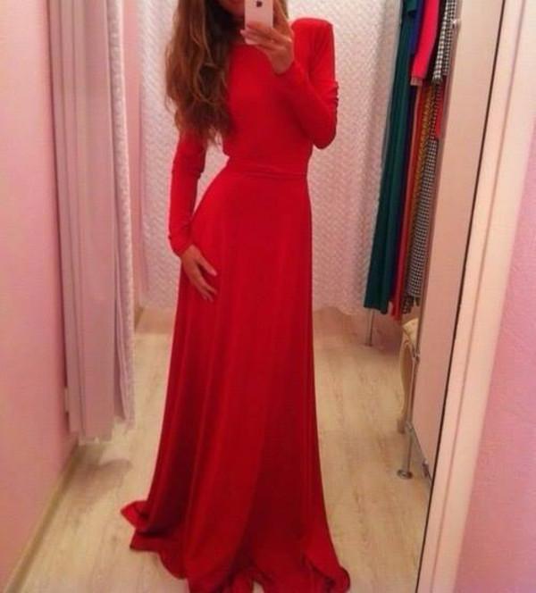 dress red dress red prom dress long sleeve dress long prom dress red vintage
