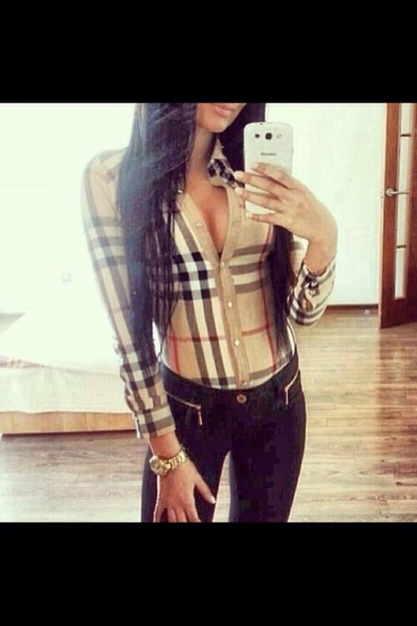 blouse brown sexy burberry beautiful