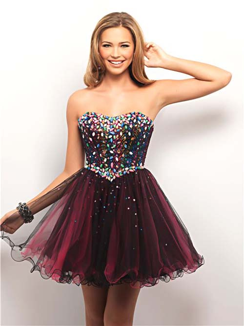 City Lights Rhinestone & Tulle Strapless Short Prom Dress - Unique Vintage - Prom dresses, retro dresses, retro swimsuits.