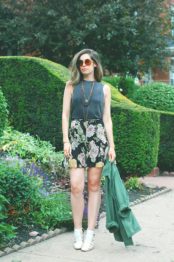 orchid grey jacket top skirt shoes jewels underwear sunglasses