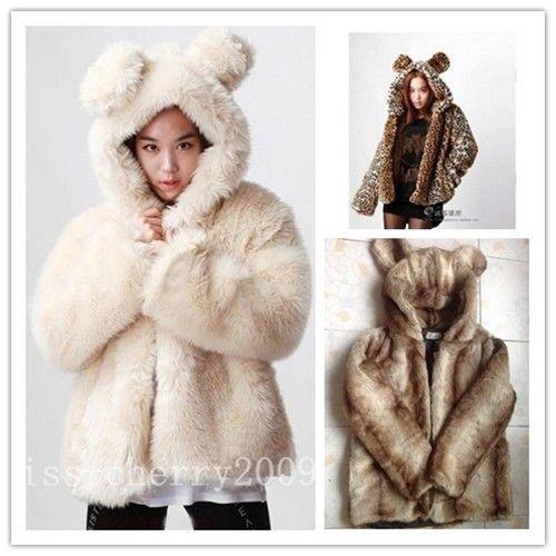 2013 Korea Fashion Women Warm Softly Faux Fur Bear Ear Hoodie Jacket Coat   eBay