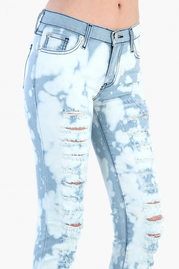LoveMelrose.com From Harry & Molly | Distressed Bleached Tie Dye Jeans