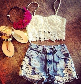 shirt crop tops bandeau bralette lace shorts high waisted shorts floral flower crown headband summer hippie hat shoes tank top white jewels clothes cream crochet denim t-shirt blouse pants