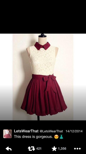 dress red collar red and white white top red skirt