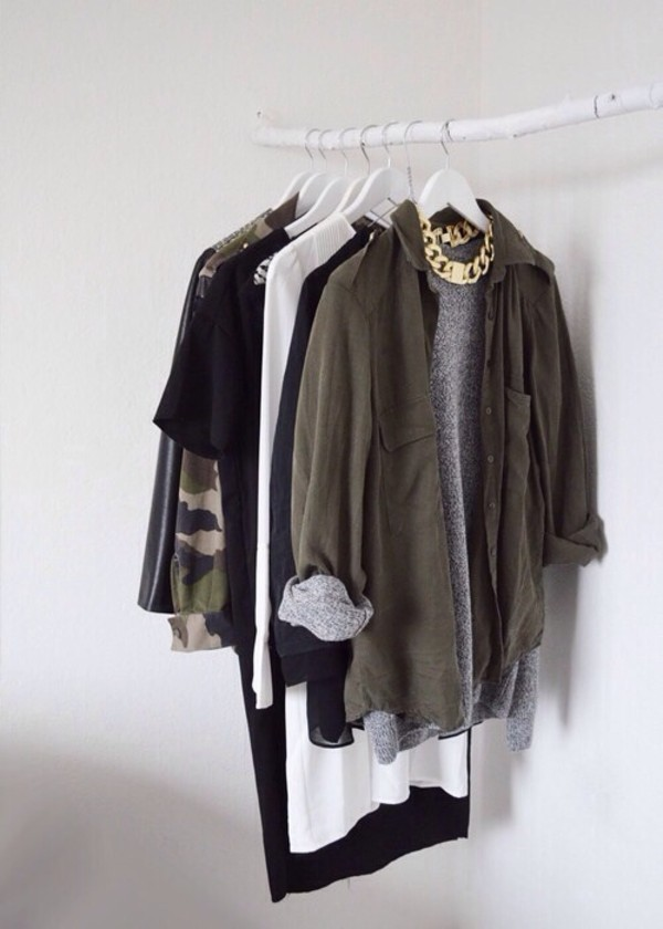 jacket green jewels khaki throw over button up outerwear