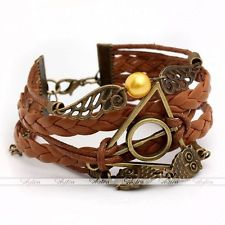 Chic Hot Infinity HARRY POTTER DEATHLY HALLOWS Owl Wings Leather Wrap Bracelet | eBay
