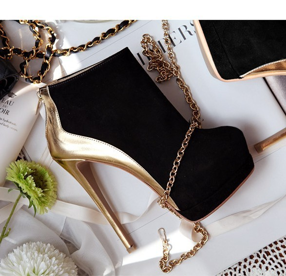 BUENO 2013 hot sale women's stitching ankle boot classic high heel shoes fashion flock platform wholesale HM373-in Boots from Shoes on Aliexpress.com