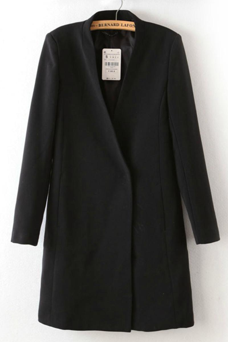 Double-breasted Women V Neck Leisure Long Sleeve Overcoat,Cheap in Wendybox.com