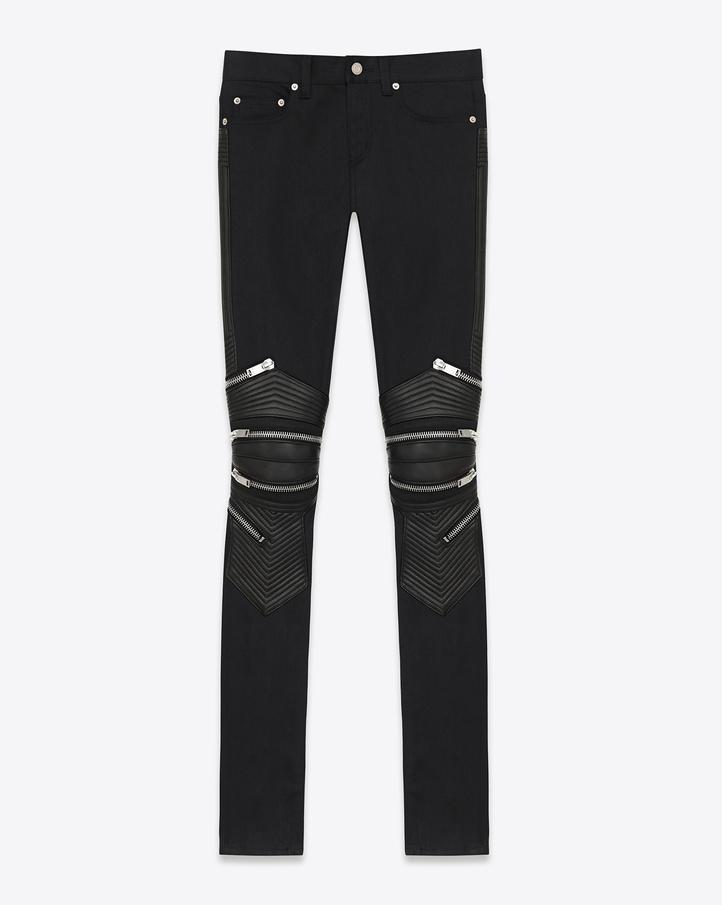 Saint Laurent Signature Biker Pants In Black Stretch Denim  | ysl.com