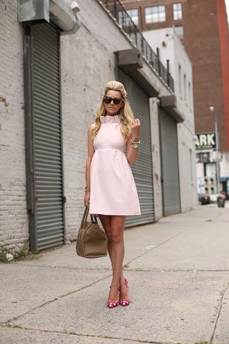 atlantic pacific dress shoes bag sunglasses jewels light pink classy 50s style