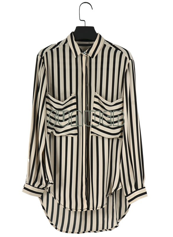 2013 New Fashion Women's Black White Stripe Shirt Long Sleeve Chiffon Blouse Tops 3 Size 11110-in Blouses & Shirts from Apparel & Accessories on Aliexpress.com