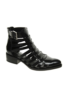 ASOS | ASOS ATTACK Leather Cut Out Gladiator Ankle Boots at ASOS