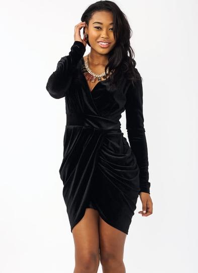 Plunge-Into-Velvet-Draped-Dress BLACK RED - GoJane.com