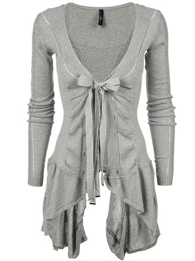 Women  -  All - High 'Chapter' Ribbed Asymmetric Hem Cotton Cardigan - Bernard Boutique