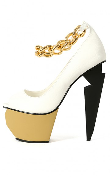 Privileged Mercer Colorblock Chain Pumps | MakeMeChic.com