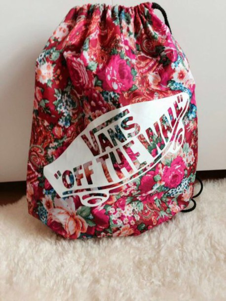 bag vans backpack red floral