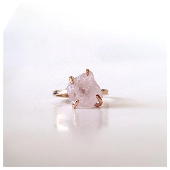 Rose Quartz Solitaire Gold Ring  Engagement Ring by camilaestrella