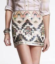 Sequin Embellished Mini Skirt Neutral