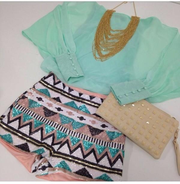 shorts aztec blouse tribal pattern print