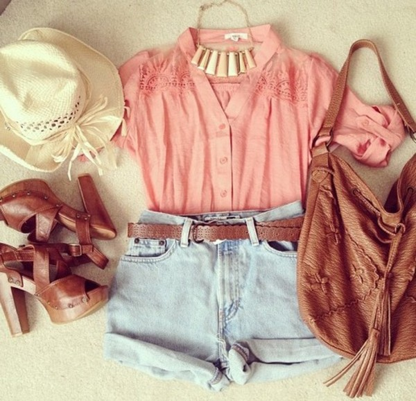 blouse bag shirt pink jewels belt shoes shorts hat underwear leather bag hippie summer outfits